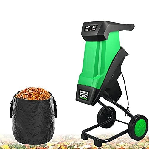 joyvio Potente trituradora de jardín portátil 2400w 220-240v Trituradoras de jardín eléctricas, trituradora de Ramas, Motor eléctrico, Ligero y Compacto, Cable alimentación de 30 m, Bolsa Desmontable