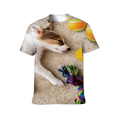 Flatlay,Fashion Crewneck T-Shirt for Men/Women/Boys/Girls Cute Sleeping patchy Puppy and Different Dog Toys on a Brown c
