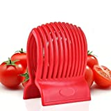 WOIWO Multiuse Tomato Slicer Holder,Potatoes Round Fruits Vegetables Tools Kitchen Cutting Aid,Red