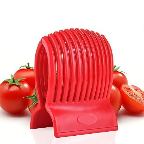 WOIWO Multiuse Tomato Slicer Holder,Potatoes Round Fruits Vegetables Tools Kitchen Cutting Aid,Red New Hampshire