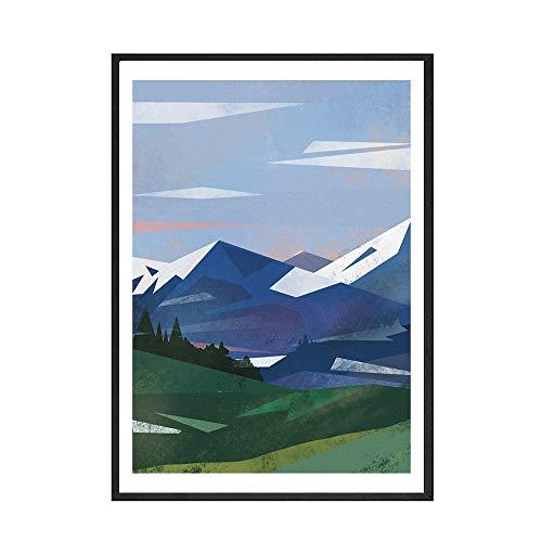 Hochgebirgswandkunst Abstrakte nordische Bergplakate und -drucke Hauptdekor rahmenlose Leinwandmalerei A 15x20cm