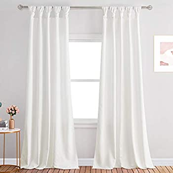StangH White Curtains with Knotted Tab Top Elegant Faux Silk Decor Light Filtering Privacy Window Drapes for Living Room / Bedroom White W52 x L96 inches 2 Panels
