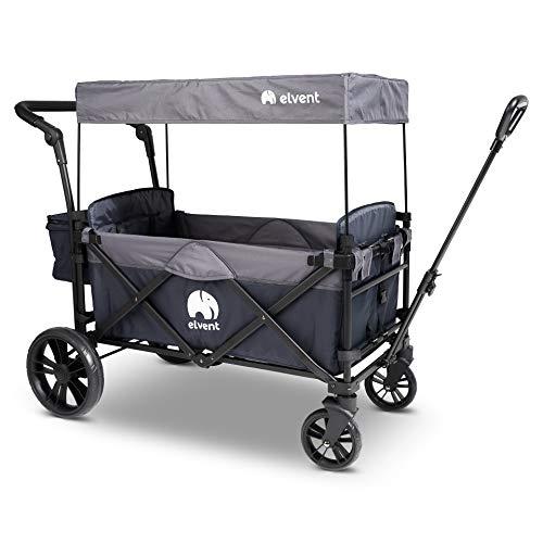 elvent® SmartCruiser Bollerwagen - Handwagen faltbar mit Dach I 5-Punkt-Gurt I für 2 Kinder