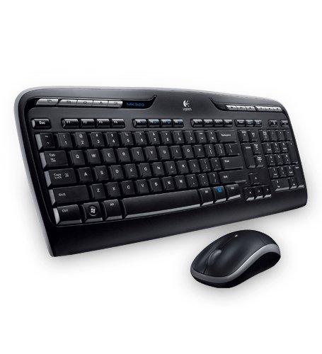 Logitech MK330 Kabelloses Tastatur-Maus-Set, 2.4 GHz Verbindung via Unifying USB-Empfänger, 4 programmierbare G-Tasten, 12 bis 24-Monate Batterielaufzeit, PC/Laptop, Griechisches-Layout - schwarz