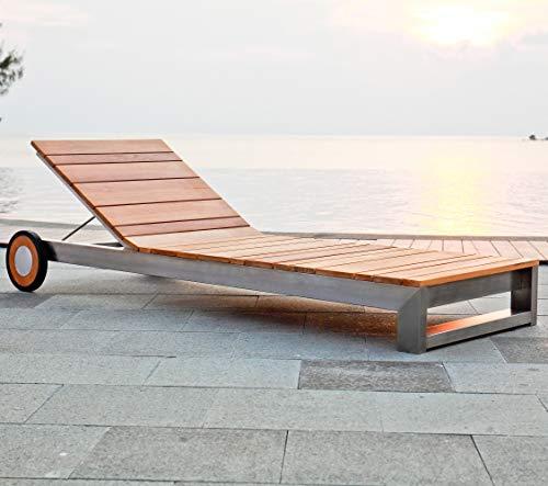 Teako Design Gartenliege Coldai Edelstahl Teak unbehandeltes Massivholz Wetterfest robust Designer Sonnenliege Teakholz