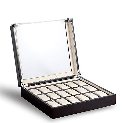 AXROAD MALL AXROAD MALL Schwarzes Uhrengehäuse, Aufbewahrungsbox for Herren- und Damenuhren mit 18 Steckplätzen, Schmuckvitrine mit Echtglasplatte