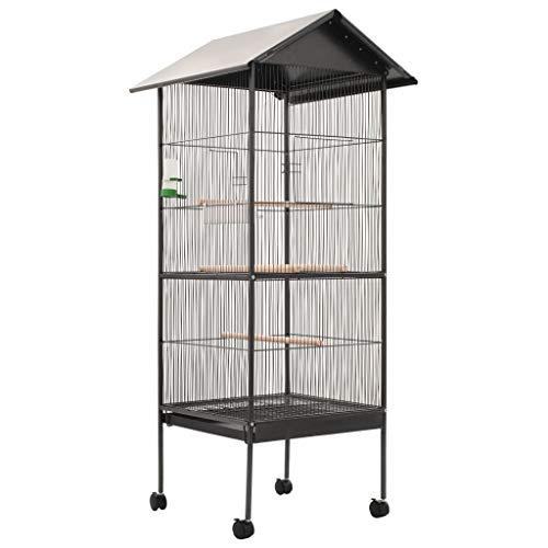 vidaXL Vogelkäfig mit Dach Vogelvoliere Vogelhaus Papageienkäfig Tierkäfig Stahl