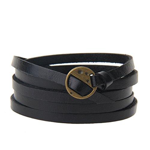 GelConnie Leather Bracelet Adjustable Multi Layer Wrap Bracelets Punk Leather Wristbands for Men, Women LPB318-Black