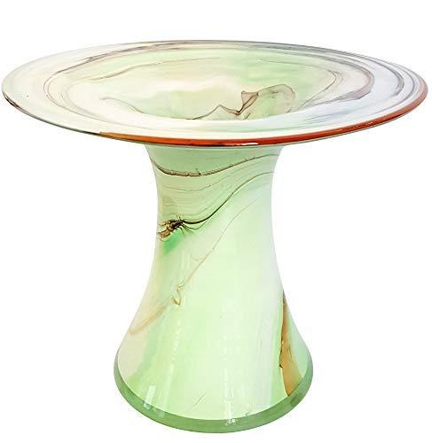 Groene vaas grote glazen vaas moderne bloem vaas tafel vaas hoogte ongeveer. 17-19 cm Groen/Beige/Wit Oberstdorfer Glashuette