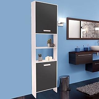 ProBache - Meuble colonne salle de bain design LEA en bois blanc portes grises