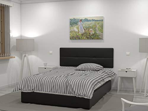 LA WEB DEL COLCHON - Cabecero tapizado Julie para Cama de 135 (145 x 55 cms) Negro