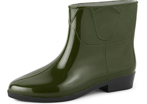 Ladeheid Botines Botas de Agua Zapatos Mujer LAZT201801 (Verde Oscuro, 39 EU)