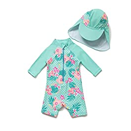Baby Girl Bathing Suit Long Sleeve UPF 50+ Sun Protection Come...