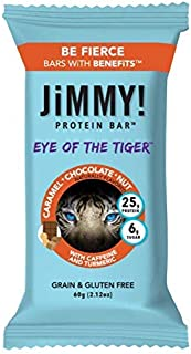 JiMMY! Eye of The Tiger Protein Bar, Caramel Chocolate Nut Flavor, 25g Protein with Guarana Caffeine and Tu...