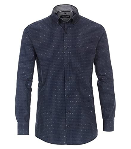 CASAMODA Herren Freizeithemd kariert Comfort Fit 100 blau XL