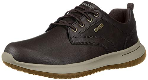 Skechers Delson-Antigo, Zapatos de Cordones Oxford Hombre, Negro (Choc Black Leather), 44 EU