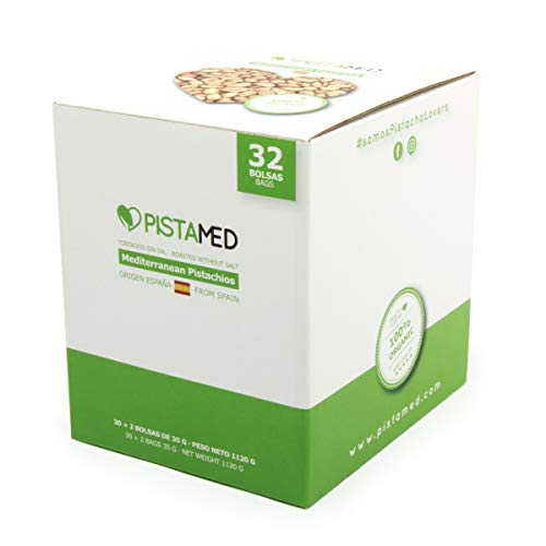 Pistachos ecológicos PISTAMED - 1,1 Kg. Tostado artesanal SIN SAL - Origen España (30+2 bolsas de 35 gr. = 1.120 gramos) 32 raciones de pistachos