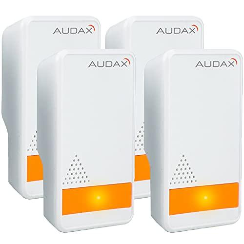 AUDAX Repelente Ultrasónico Mosquitos 2021 Control de Plagas para Las Moscas, Cucarachas, Arañas, Hormigas, Ratas y Ratones, Insectos Antimosquitos Eléctrico Extra Fuerte para Interiores (4-Pack)