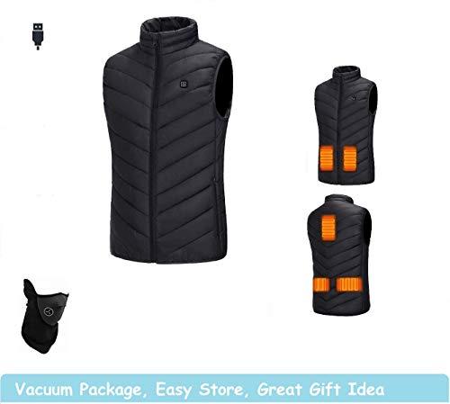 Decyam Beheizte Weste Outdoor Reiten Skifahren Angeln USB-betrieben Beheizter Kleidung Warmer Down Vest Beheizte Kleidung Für Outdoor Wanderung Und Camp (Black, S)