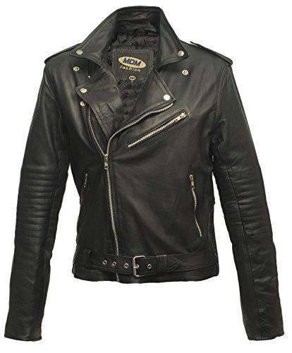 MDM Damen Lederjacke aus weichem Rindnappaleder (XL)