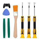 T6 T8 T10 Screwdriver Tool Set for Xbox One Xbox 360 Controller and PS3 PS4 Console Repair Security Screw Driver with 2 Spudger Pry Bars, 1 Cleaning Brush and 1 Triangle Paddle …