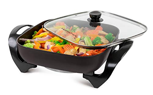HomeCraft HCSK12BK 12-Inch Electric Non-Stick Skillet, Adjustable Temperature Control, Cool-Touch Handle With Tempered Glass Lid, Perfect For Healthy Keto & Low-Carb Diets, Cauliflower Rice, Eggs