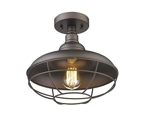 Emliviar Industrial Semi Flush Mounted Ceiling Light Fixture, 12