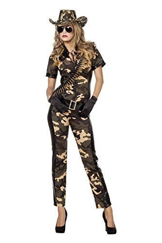 Soldatin Kostüm Damenkostüme Damen Karneval Fasching Overall Gürtel Camouflage