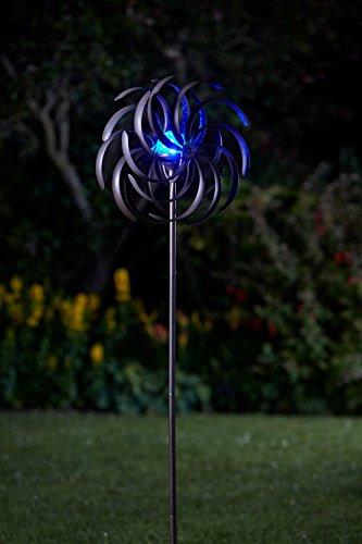 Hochwertiges Metall Windrad mit LED Beleuchtung   Großes Solar Windspiel beleuchtet mit Kristall Kugel und Farbwechsel LED   wunderschöne Deko tolle Lichteffekte   130 cm hoch