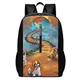 Rainbow Bridge All Pets Dogs Go Stairway to Heaven Laptop Backpack College School Backpack 17 inch