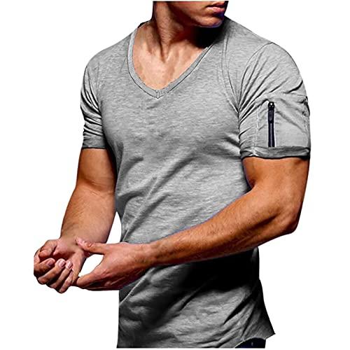 Camiseta para hombre con cuello en V, básica de un solo color, de verano, deportiva, manga corta, cuello en V, ajustada, transpirable, con cremallera gris S
