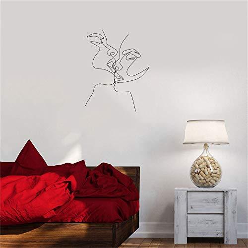 Opprxg Serie de Retratos nórdicos Hermosa Pareja besándose calcomanías de Pared decoración Sala de Estar Dormitorio Amante Vinilo 57x72 cm