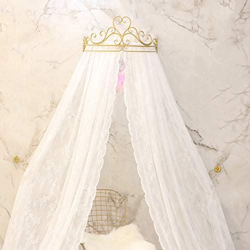 GE&YOBBY Lace Bed Canopy,Crown Princess Bed Curtain Court Mosquito Net with Decorative Drapery Metal Crown for Bedroom-White