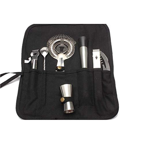GaoYunQin Coctelera de cóctel Kit de Camarero 8 Piezas Juegos de Herramientas Completos en Plegable Bolsa de Lona Kit de Utensilios para Bar Portátil Tool Travel