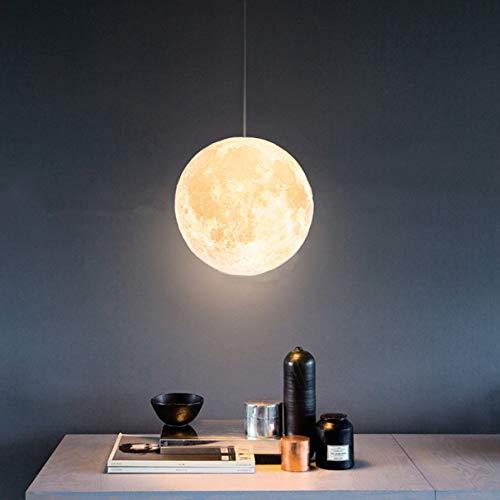 3D Drucken Mond Pendelleuchten 3 Farblicht Kreativ Universum Planet LED Pendelleuchte Einstellbar Kabel Schlafzimmer Esszimmer Kinderzimmer Wohnzimmer Bett Hängend Beleuchtungslampe,30CM