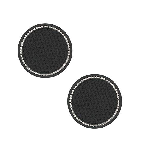 Bling Bling Car Cup Coaster 2 Pack, 2.75 Inch Cute Sparkle Rhinestones Automotive Cup Holder Insert, Stylish Car Coasters for Cup Holders (Black)