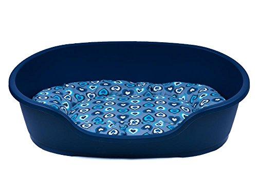 adena Hundekorb 48 x 32 cm blau + Kissen Herzen Mint