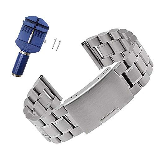 PINHEN 22mm Acero Inoxidable Correa - Gear S3 Pulsera Reemplazo Banda para Galaxy Watch 46mm, Moto 360 2 46mm, Huawei Watch GT, LG G Watch Urban, Ticwatch Pro, Pebble Time (Stainless Silver)