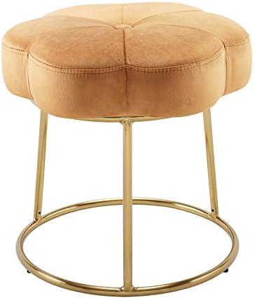 Linon Siena gift Metal Upholstered Accent in Vanity latest Stool Orange