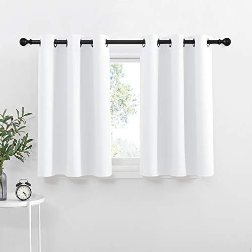 NICETOWN Small Window Curtain Panels - Pure White Elegant Home Decor Grommet Design Kitchen Drapes / Panels (White, 42W by 36L + 1.2 Inches Header, 2 Pieces)