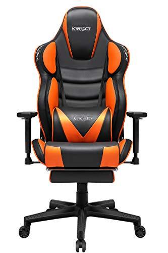 Kirogi Ergonomischer Gaming Stuhl Racer Gaming Stuhl 160kg Gaming Sessel Leder mit Fußstütze und Muskeldesign PC Stuhl Gaming Verstellbarer Multifunktions-Sessel mit überfülltem Kissen, Orange