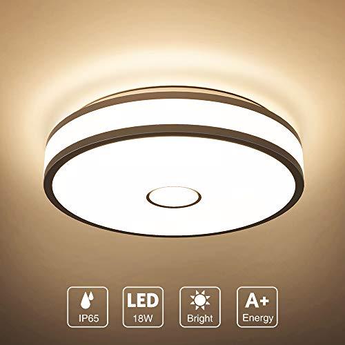 Onforu 18W LED Lámpara de Techo, IP65 Impermeable CRI 90+ LED Plafón 1800LM para Salón Cocina Dormitorio Baño Pasillo, Igual al 180W Luz Interior Techo Habitacion, 2700K Blanco Cálido Redonda Moderna