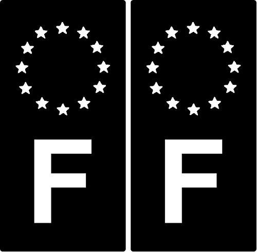 """KPCM Display - Adesivi per targa automobilistica (Confezione da 2) Motivo: """"F"""" Francia.Identificativo europeo. Colore:nero e bianco."""