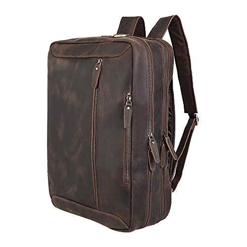 Vints Leder Cabrio Rucksack 15,6 Zoll Laptop Aktentasche Umhängetasche Travel Daypack...