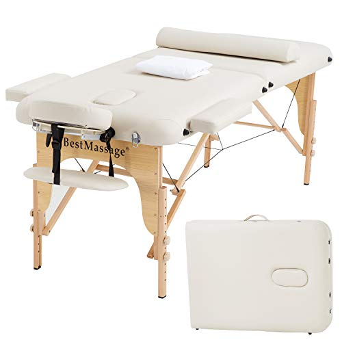 Portable Massage Table Massage Bed SPA Bed 2 Folding 73 Inch Long 28 Inch Wide PU Portable Massage Table Height Adjustable Salon Bed W/Half Bolsters Sheets Carry Case Reiki Tables