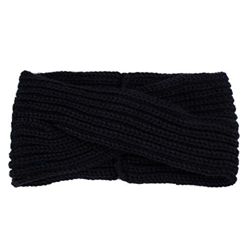 Fulltime® Hiver Femmes Bohemian Tissage Cross Bandeau Handmade Hairband (Noir)