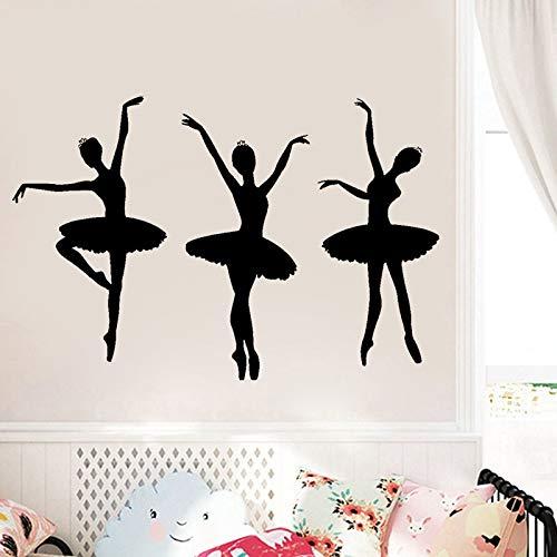 ganlanshu Ballerina Künstler Mädchen Schlafzimmer Wanddekoration Vinyl Aufkleber Ballsaal Ballett entfernbare Wandaufkleber 79cmx50cm