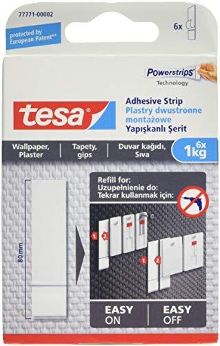 Tesa 77771–00002–00strisce adesive rimovibili per appendere quadri su carta da parati, bianco