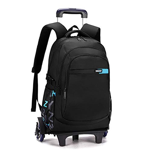 LHY EQUIPMENT Trolley Backpack for Boys, Children's Trolley Rolling with 15.6 Inch Laptop Compartment Lightweight Waterproof Detachable Wheeled Backpack for Kids Can Climb Stairs,Blue
