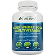 Multivitamin for Men  Daily Supplement 120 Capsules  Whole Food Multivitamin, Mens Multivitamin Organic, Vitamins, Minerals, Probiotics, Zinc, Selenium, Spirulina, Calcium, Turmeric, Magnesium